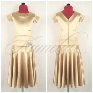 Платье Rt сатин- вельвет светлое золото №10 р34
