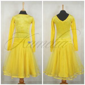 Платье Rt жатый бархат стрейч желтый + фатин р36