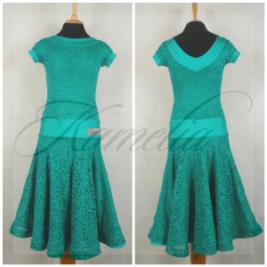 Платье Rt гипюр стрейч изумрудный р36