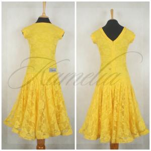 Платье Rt гипюр стрейч желтый р36