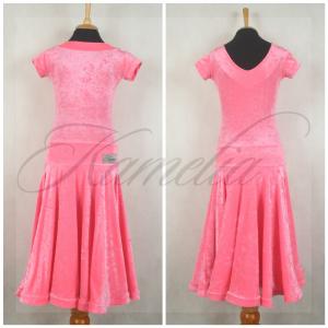Платье Rt жатый бархат стрейч ярко-розовый р36