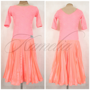 Платье Rt гипюр + перл-шифон коралловый р38