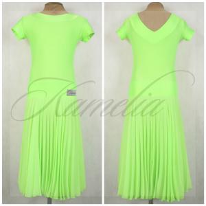 Платье Rt бифлекс салатовый + шифон гофре р38