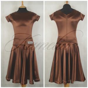 Платье Rt сатин-вельвет шоколад №7 р40