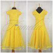 Платье Rt гипюр стрейч желтый + фатин р36