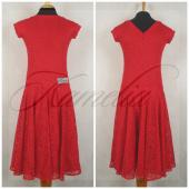 Платье Rt гипюр стрейч красный р38