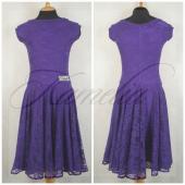 Платье Rt гипюр стрейч фиолетовый р40