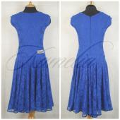 Платье Rt гипюр стрейч синий р40